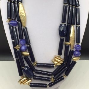 Chico's Blue & Gold Beaded Statement Necklace